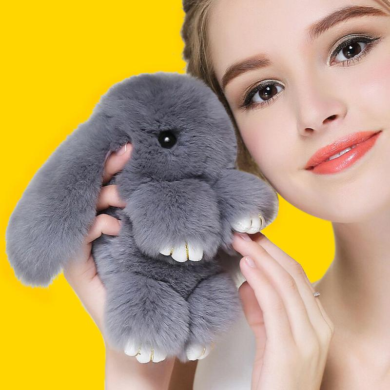 Кролик брелок из меха